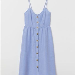 H&M striped sleeveless dress with buttons v-neck